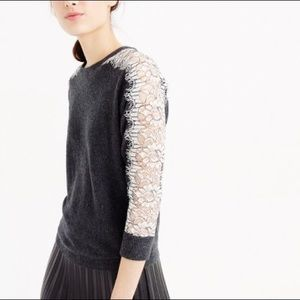 J.Crew Edged Open Lace Sleeve Wool Blend Sweater